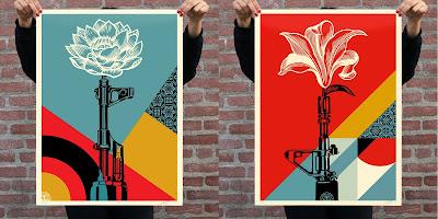 """OBEY Giant """"AK-47 Lotus"""" & """"AR-15 Lily"""" Screen Prints by Shepard Fairey"""