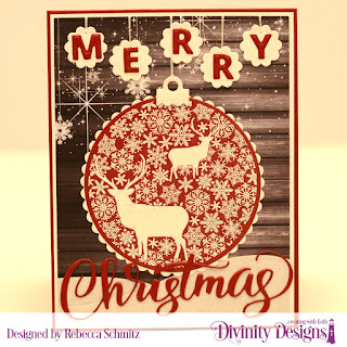 Stamp Die Duos: Deer Ornament, Paper: Rustic Christmas, Custom Dies: Rectangles, Merry Christmas, Scalloped Circles, Curvy Slopes