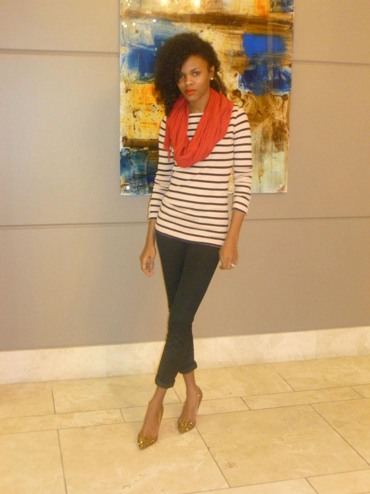 6bed29347215f1 Shirt- Gap Jeggings- PacSun. Scarf- Borrowed Shoes- Louboutins (worn here)