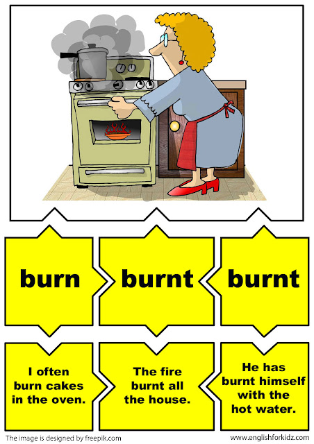 irregular verbs flashcards, verb burn