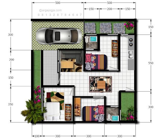 Denah Rumah Tropis Modern Minimalis