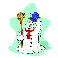 snowman holding broom and raising top hat to say hello