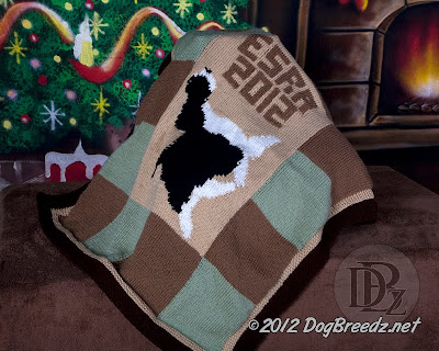 Hand Knit/Dog Approved!  English Springer Spaniel hand knit afghan - ready to be auctioned or raffled for Rescue!
