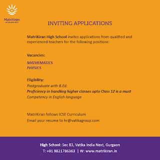 Matrinkiran High School PGT Teacher Jobs