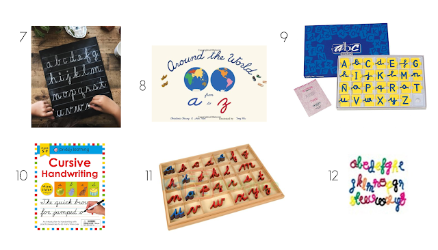 Toys and Materials that support cursive writing