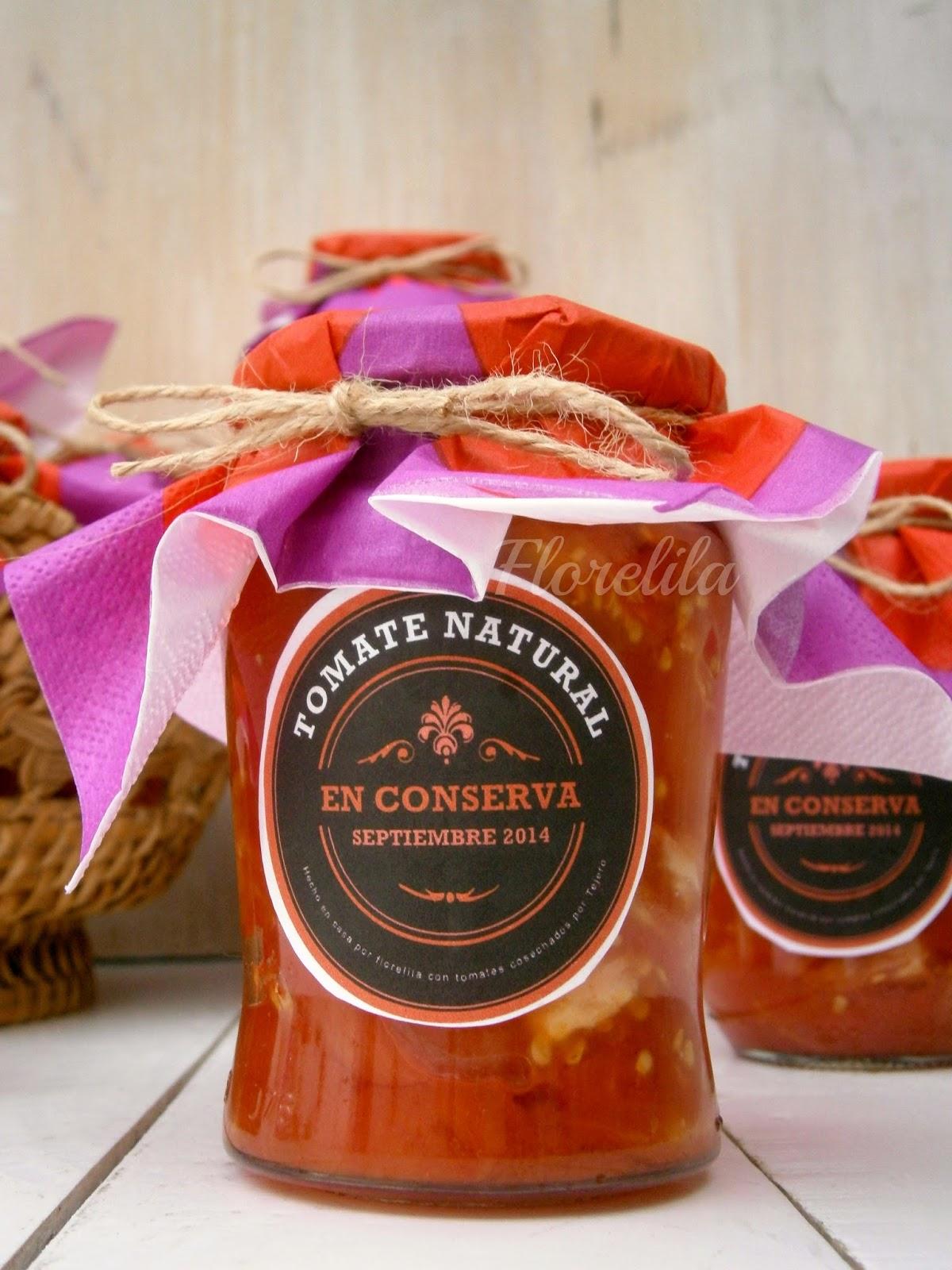 Florelila, recetas y aficiones.: Tomate natural en conserva.
