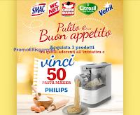 Logo Eroi di Casa ''Pulito e...buon appetito'': vinci 50 Pasta Maker Philips! Anticipazione