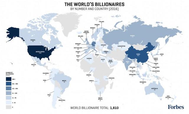 países donde viven los más Billonarios