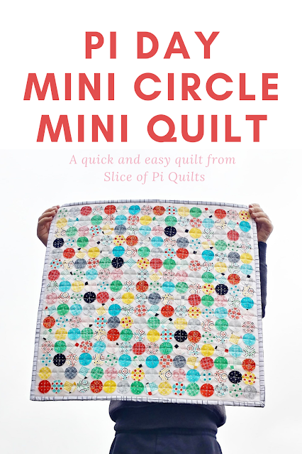 """Make a quick and easy Pi Day mini quilt with 1"""" raw edge circles"""