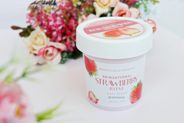YOU  Skinsational Strawberry Rose Body Scrub Review. YOU Cosmetics, YOU Skincare, YOU Body Care, Body Scrub, lulur lokal, Body scrub lokal, body scrub YOU