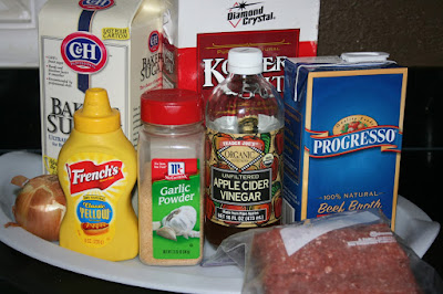 these are the ingredients used to make loose meat sandwiches. Great super easy crockpot slow cooker recipe.