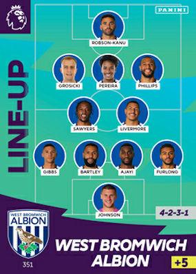 Panini ADRENALYN XL 2020//21 Premier League West Brom Tarjetas de base 334-351