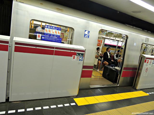 Pasajero del Metro de Tokio con Mascarilla