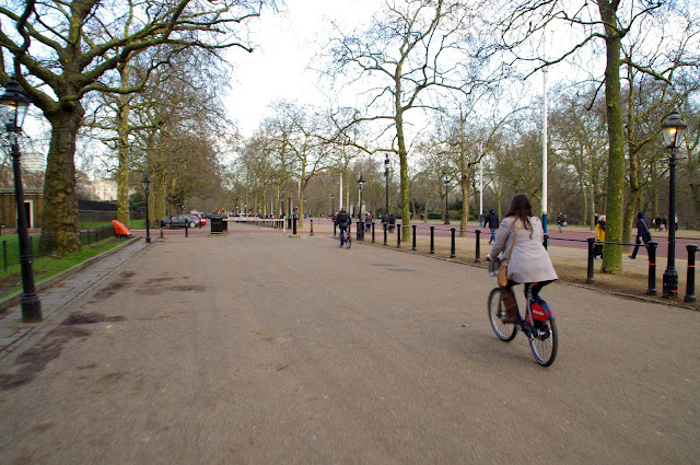 Cycling through Hyde Park in London