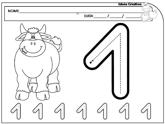 Fichas de Trabalho Numeral 1 com o tema Animais