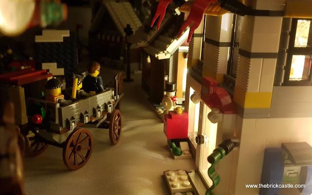 LEGO Winter Village at night