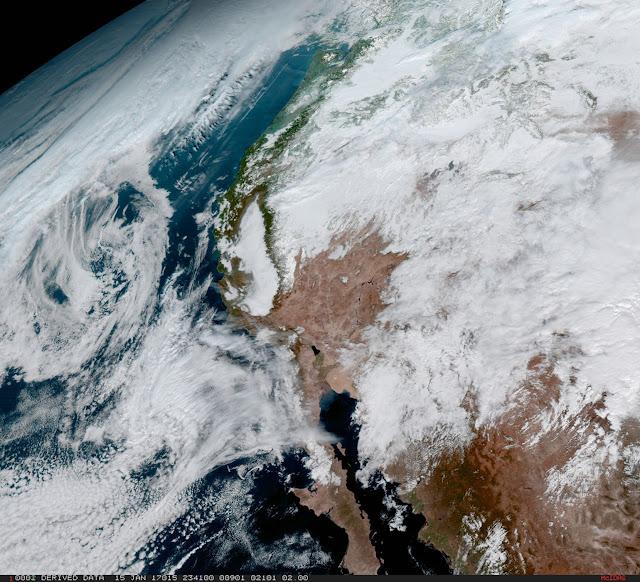 Tiểu bang vàng California, bờ biển tây Hoa Kỳ và bán đảo Baja. Hình ảnh: NOAA/NASA.