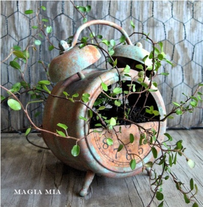 17. Jam weker yang rusak bisa dijadikan pot tanaman