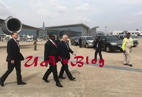 Just In: US Secretary of State Rex Tillerson Arrives Abuja(Photo)