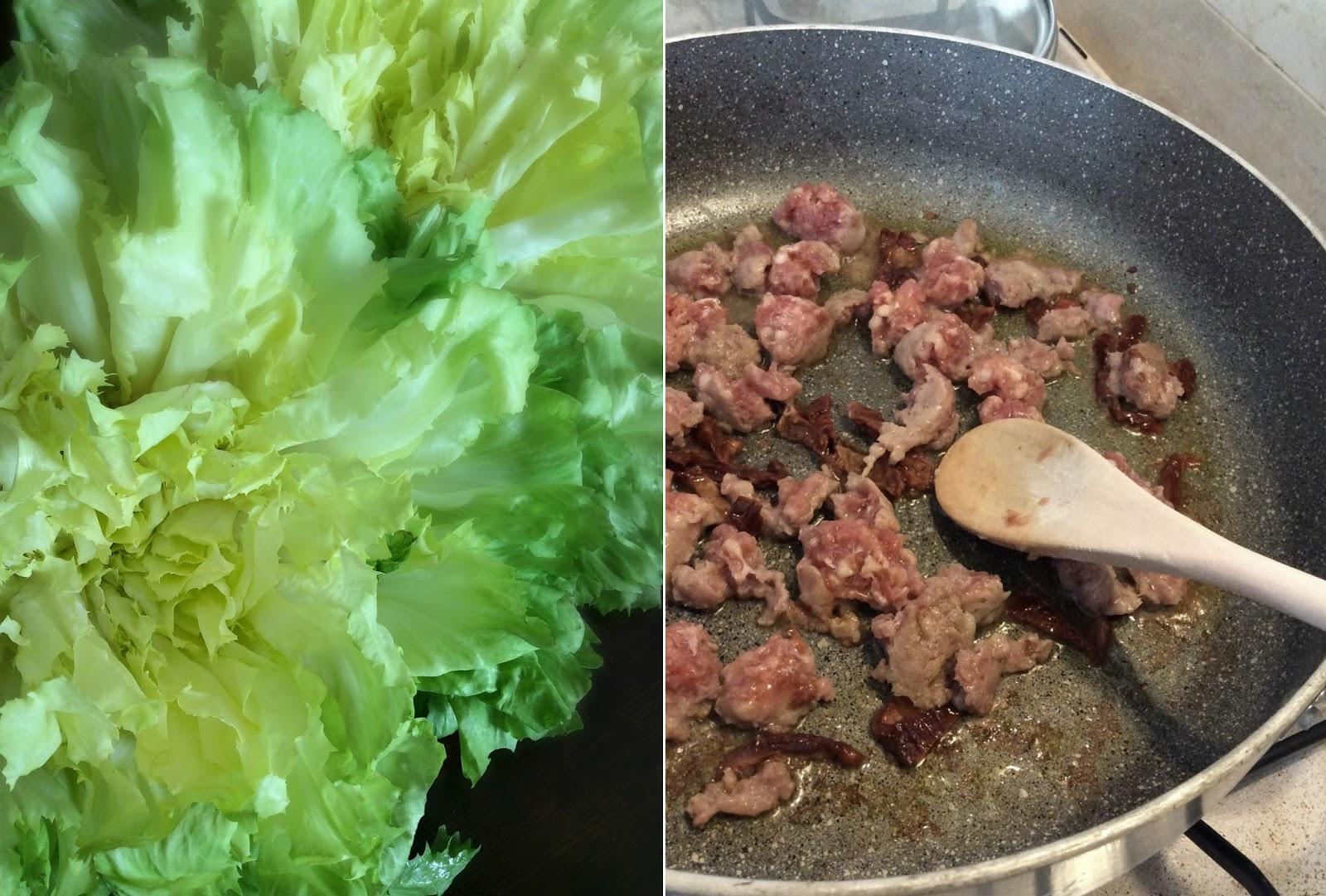 pasta rustica con scarola salsiccia e pomodori secchi