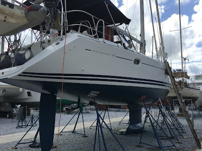 Jeanneau 45 after anti fouling paint applied
