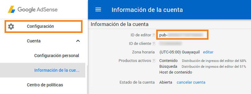 opciones de adsense, id de editor
