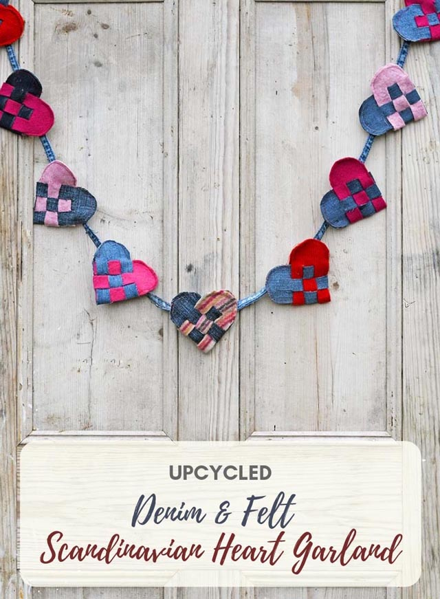 Learn how to make a heart garland using repurposed denim and wool. Tutorial by Pillar Box Blue.