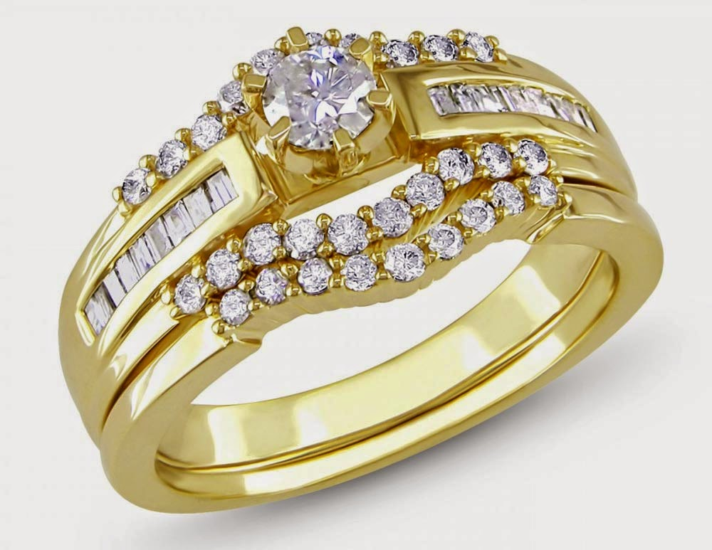 Yellow Gold Princess Cut Wedding Ring Sets Diamond for Her ...