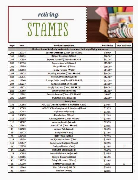Stampin' Up! Retiring Stamps list - 2014