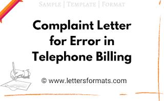 complaint letter for telephone billing error