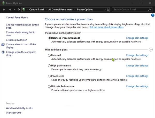 Cách khôi phục các Power Plans mặc định bị thiếu trong Windows 10