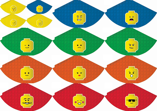 Gorros para Fiesta de Lego para Imprimir Gratis.