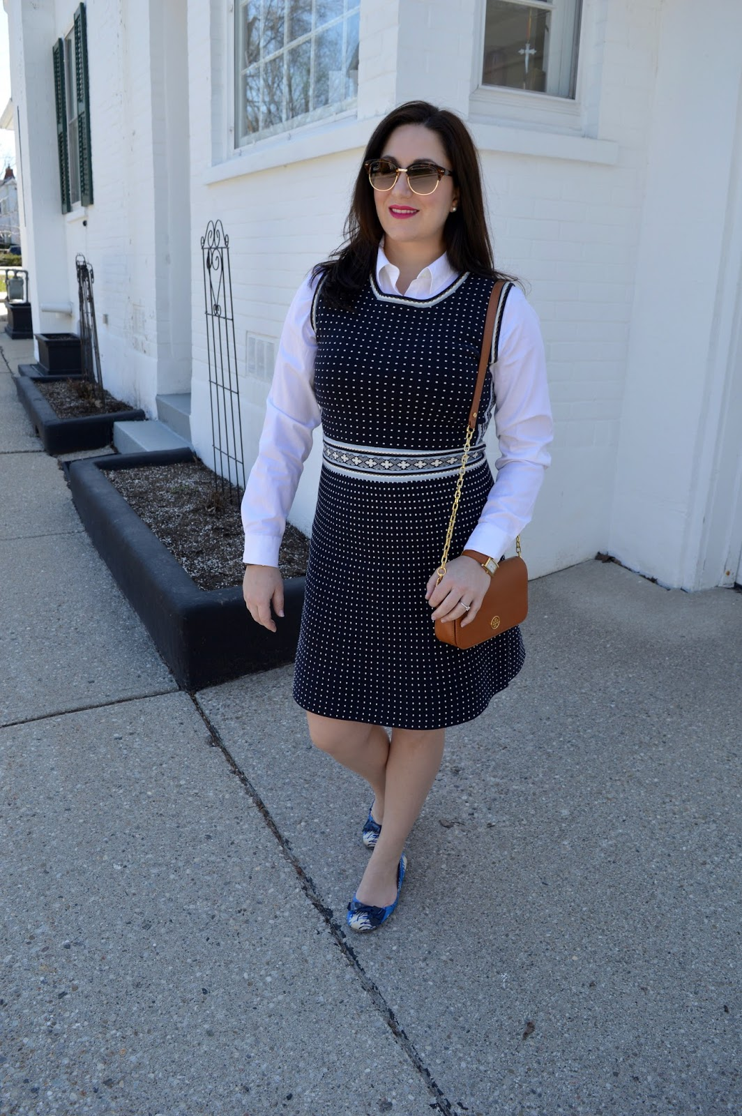 Navy dress, white blouse