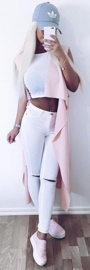spring street style: blush + white