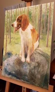 Öljyvärimaalaus koirasta, walesinspringerspanieli metsässä