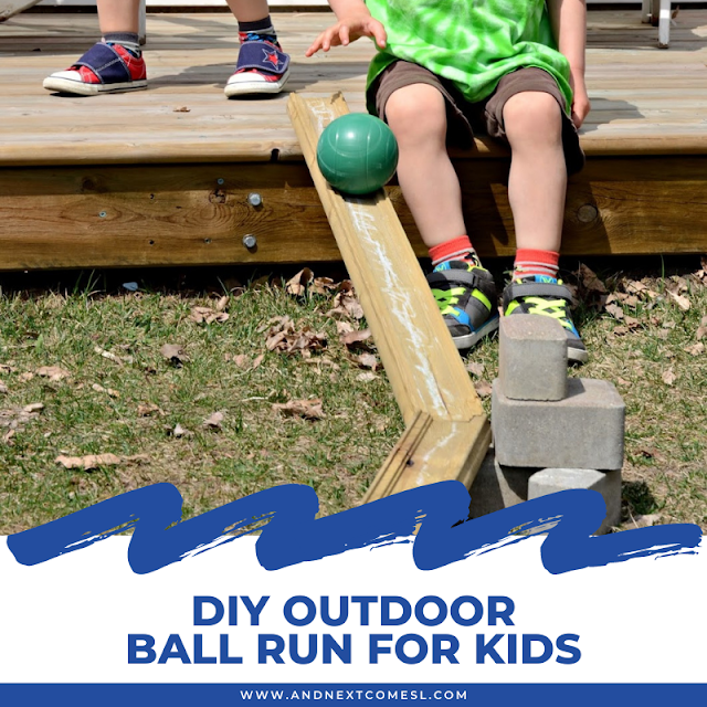 DIY ball run for kids using loose parts in the backyard