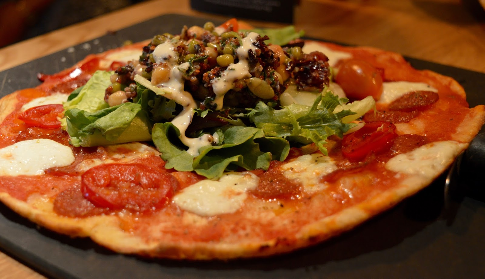 Remembering Metroland with Family Dining and the Kid's Menu at Pizza Express intu Metrocentre - American hot Leggera Pizza with superfood salad