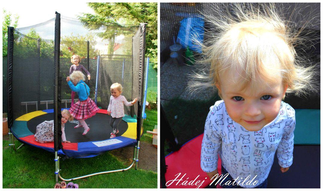 zahrada, jak zabavit batole, trampolina Belatrix, cyklosedačka Hamax