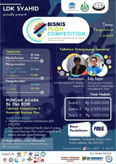 Lomba Ide Bisnis (Bisnis Plan Competition) UIN Jakarta 2019 Untuk Mahasiswa