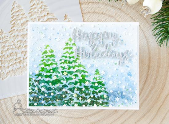 Winter Trees Christmas card by Tatiana Trafimovich | Evergreens Stencil and Holiday Greetings Die Set by Newton's Nook Designs  #newtonsnook #handmade