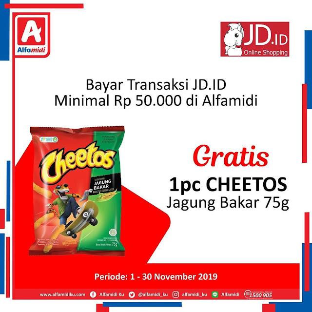 #Alfamidi - #Promo Bayar Transaksi JD ID Min 50K Gratis Cheetos 75G (s.d 15 Nov 2019)