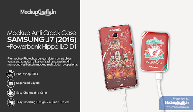 Mockup Powerbak Custom HIPO ILO D1 10000 MAh + Anti Crack Samsung J7