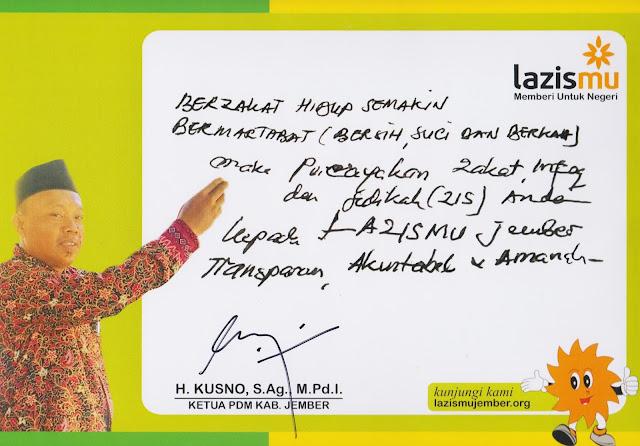Statemen Kusno, S.Ag, M.Pd.I, selaku Ketua PD. Muhammadiyah Jember