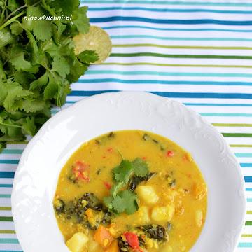 Wegańska zupa curry z jarmużem i dynią - Czytaj więcej »