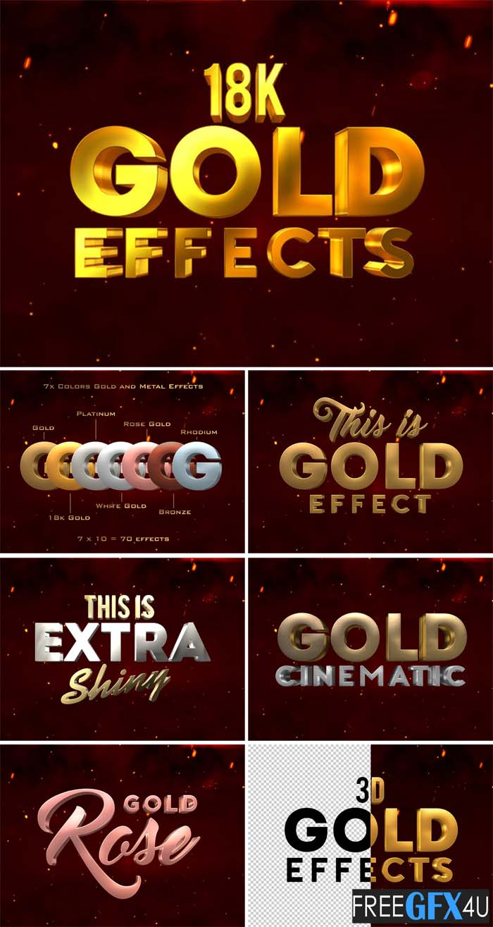 3D Metal & Gold Effects Photoshop