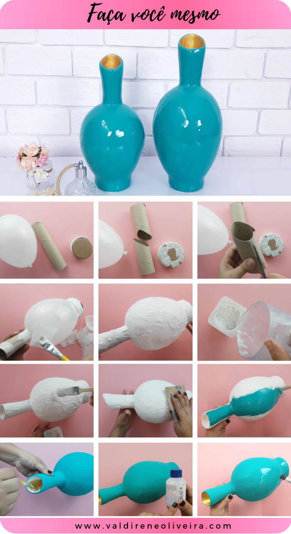 como fazer vaso de gesso