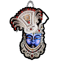 Shrinathji Nathdwara Face Printed Home Wall Decoration Religious Hanging Wooden