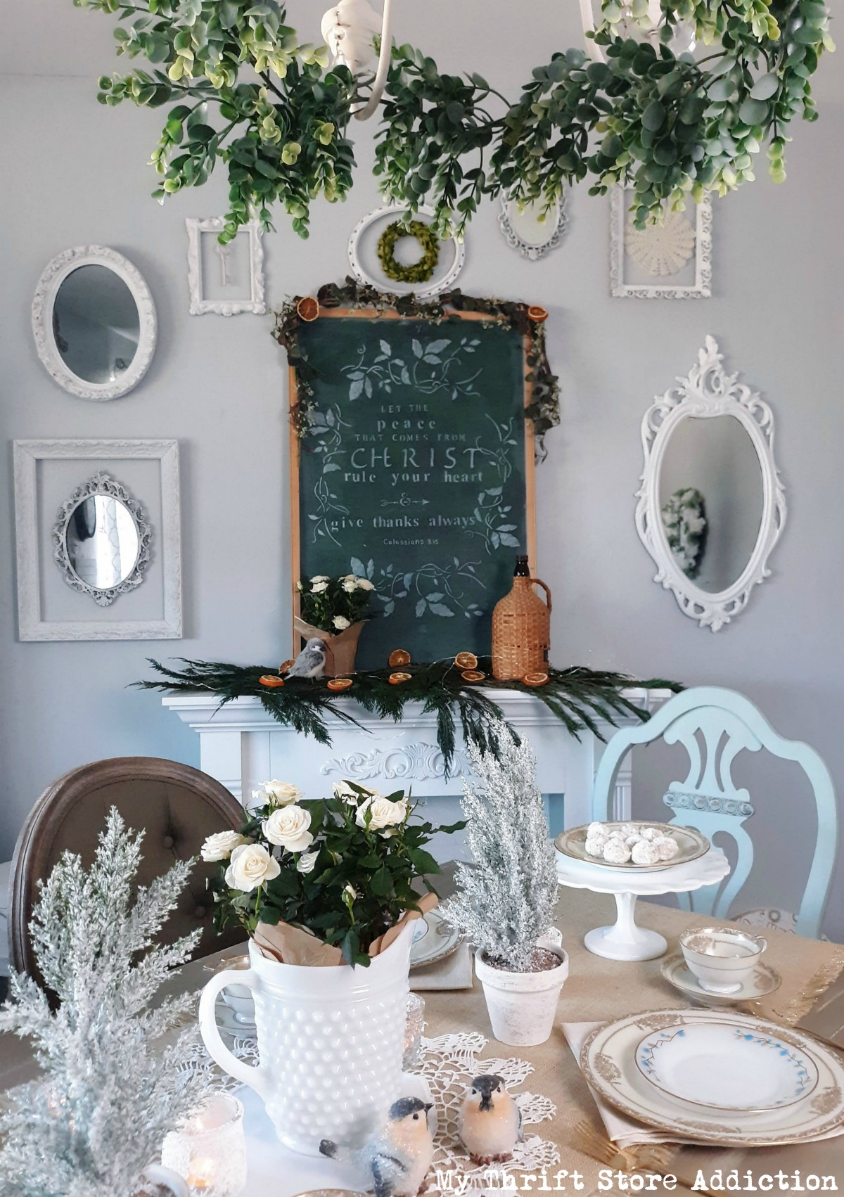 milk glass and metallics winter tablescape