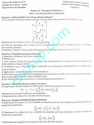 exercices TD corrigés physique des matériaux I smp s5 FS Rabat