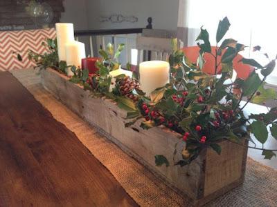 centro de mesa navidad en caja de madera